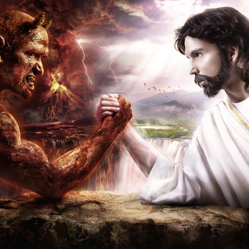 Jesus vs Devil hand wrestling
