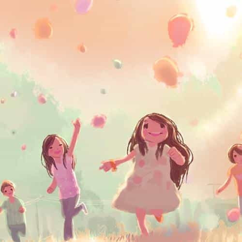 kids playing illustration art cute pink