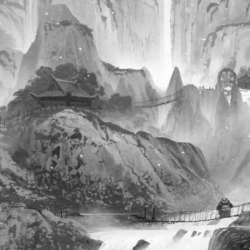 kungfu panda background art illust film dark bw