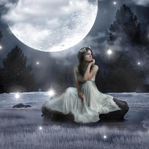 Lady in white dancing in the moon