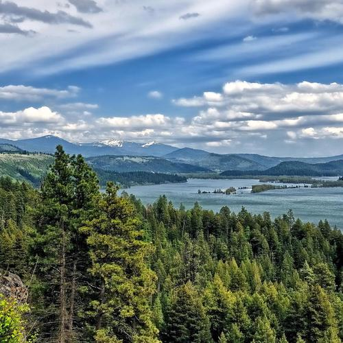 Lake Coeur Dalene Nature Landscapes Mountains Trees Forest Sky Clouds Sceni