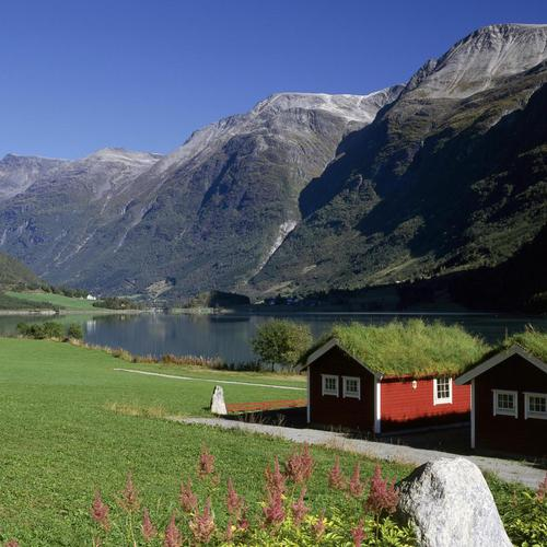 Lakeside Homes Oldenvatnet Norway wallpaper