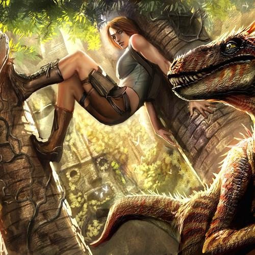 Lara Croft vs dinosaurs wallpaper