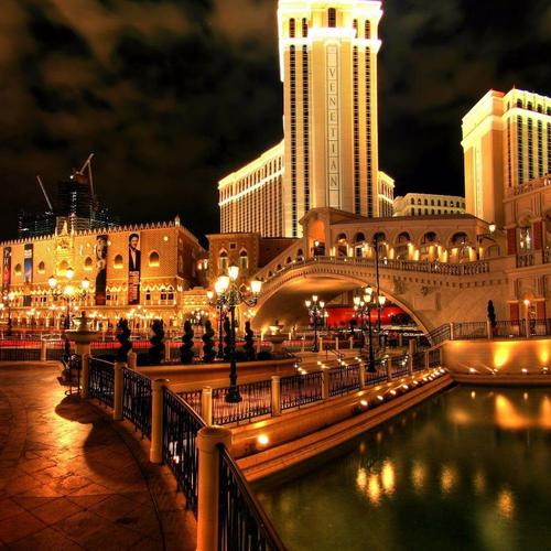 Late night at the Venetian hotel in Vegas