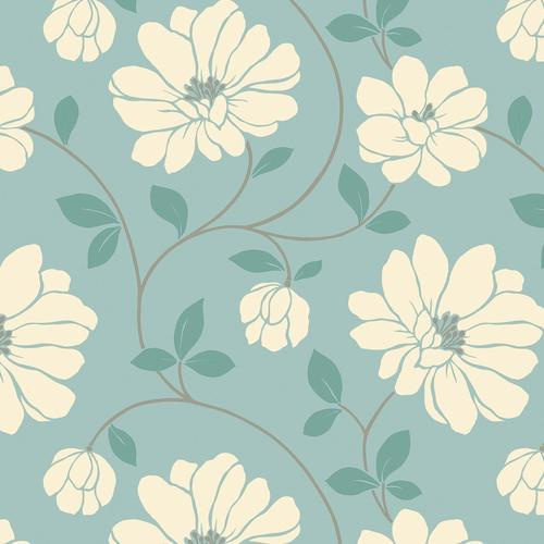 Light green flower pattern wallpaper