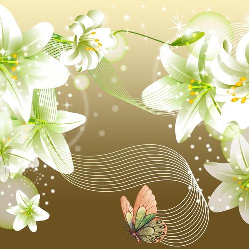 Lilies butterflies on gold wallpaper