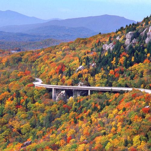 Linn Cove Viaduct Highway In North Carolina