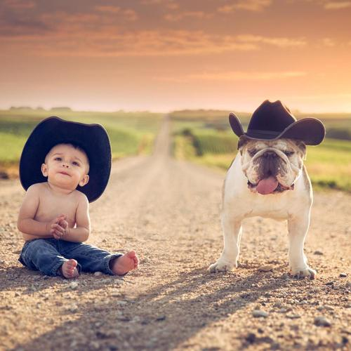 Little Boy With Bull Dog wallpaper