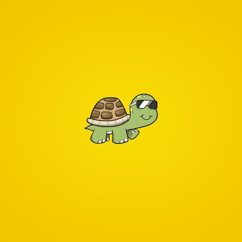Little turtle on yellow background wallpaper