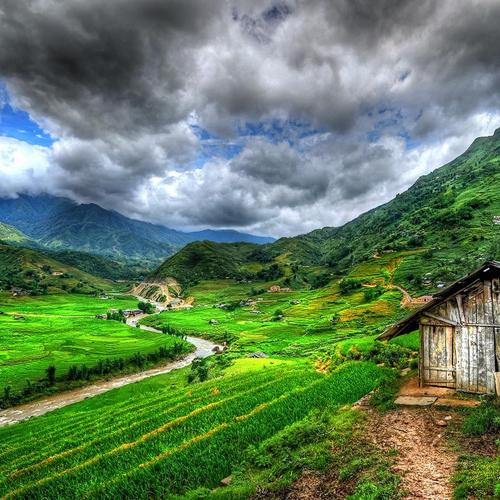 Lonely barn in valley