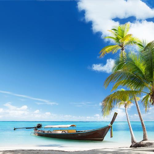 Lonely boat in paradise island wallpaper