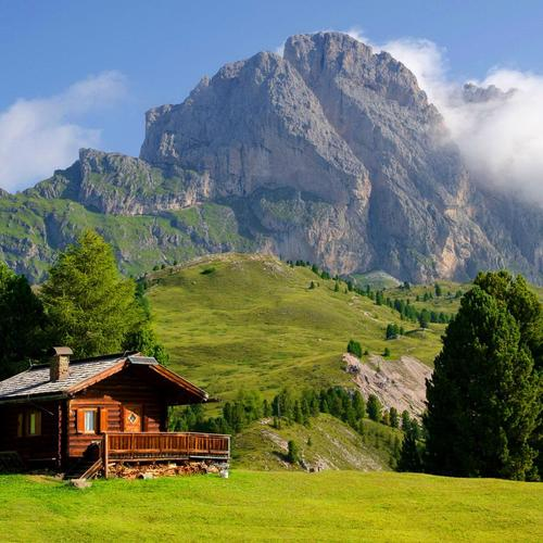 Lonely wood house at Val Gardena Italy
