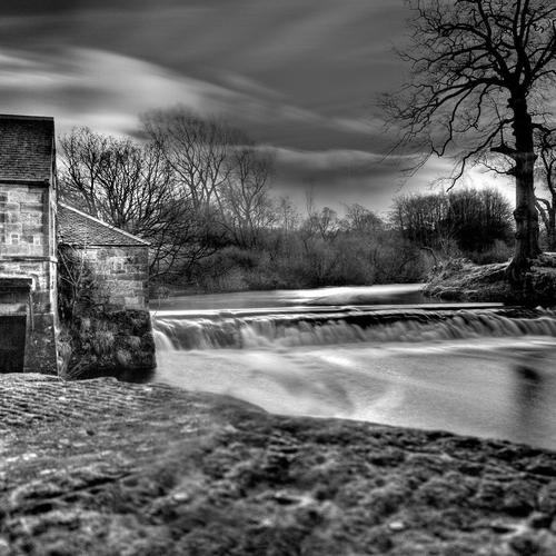 Lovely Falls On A River In Black White wallpaper