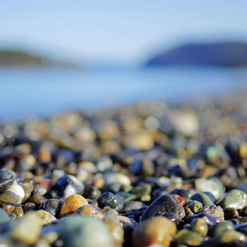Macro of pebbles on the beach