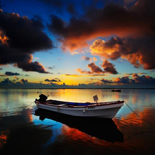 Magnificent boat in sunset
