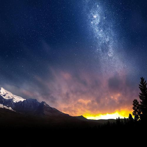 Magnificent stars above Alps mountain