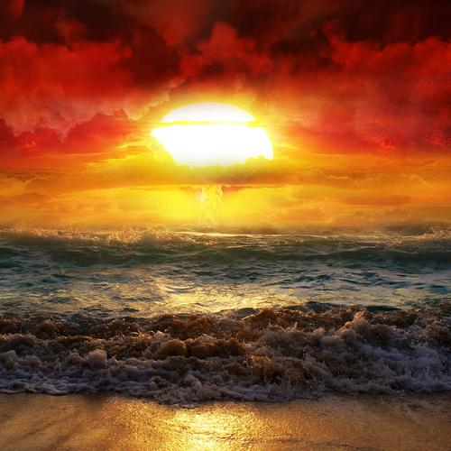 Magnificent sunrise over the beach wallpaper