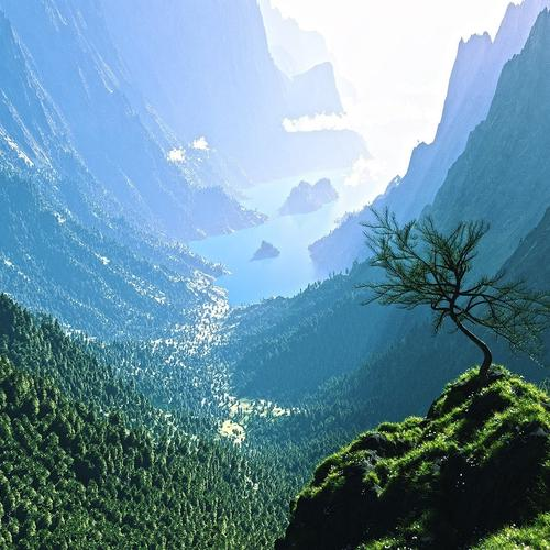 Magnificent view from top of mountain wallpaper