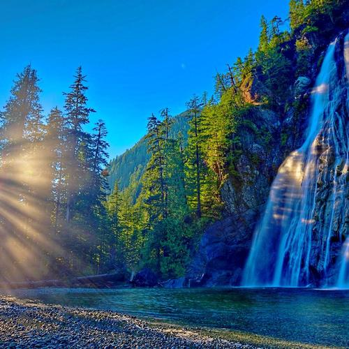 Magnificent waterfall in morning wallpaper