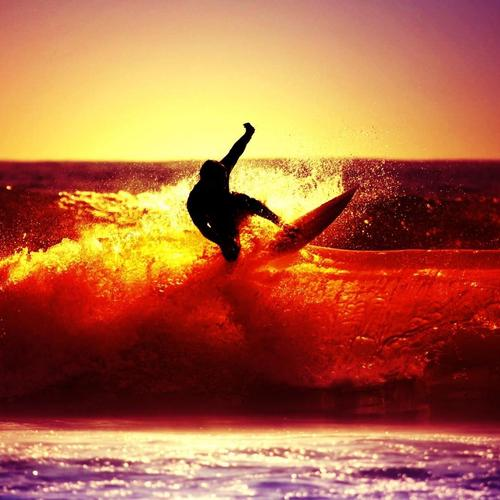 Man surfing in sunset wallpaper