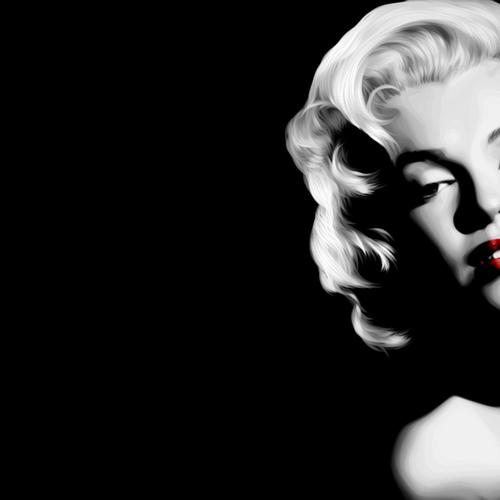 Marilyn Monroe black and white red lip