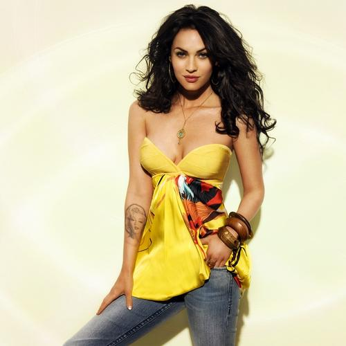 Megan Fox in yellow dress and jeans pant
