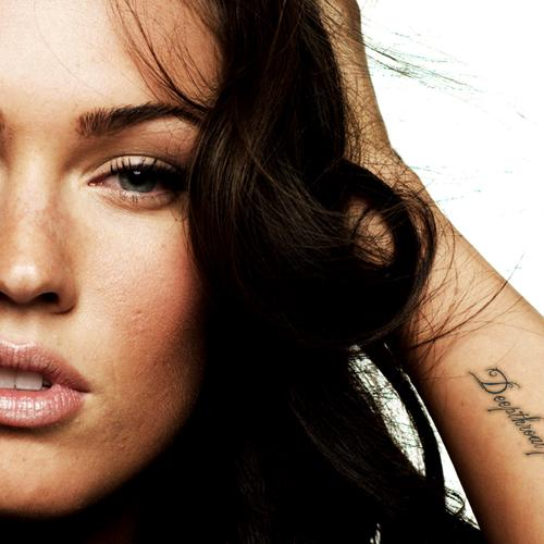 Megan Fox with arm tattoo