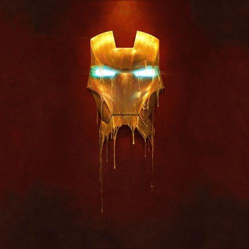 Melting Iron man mask wallpaper