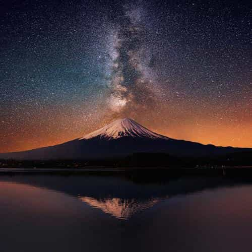 milky way on mountain fuji sky