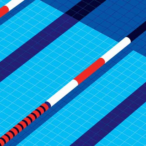 minimal art malikafavre swim blue illustration art