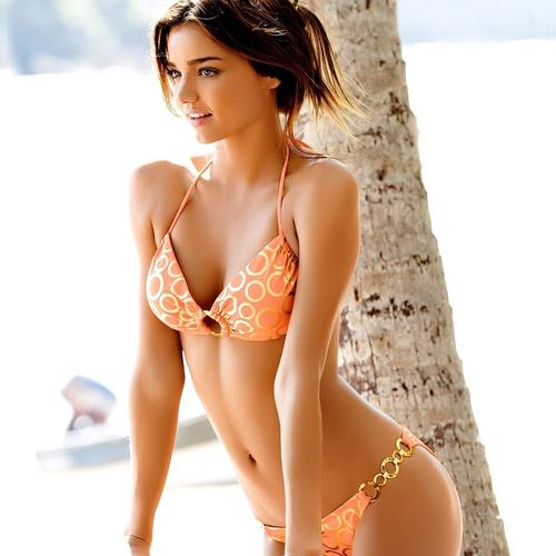 Miranda Kerr in orange bikini 2014