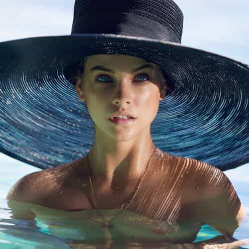 model hat swim sea summer blue