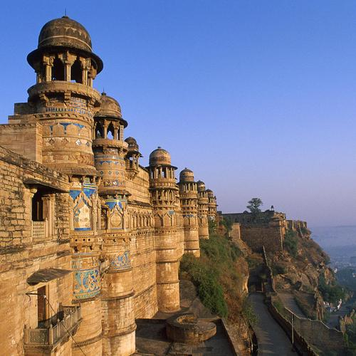 Monuments on the cliff in India