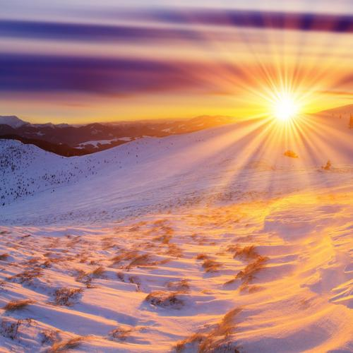 Morning sunrise over snow mountain wallpaper