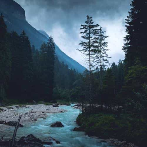 mountain wood night dark river nature blue