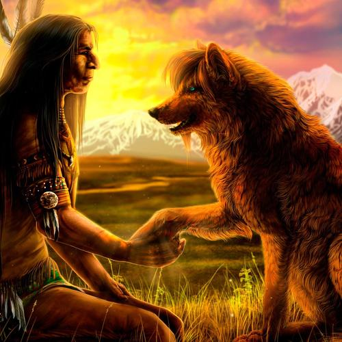 Native With Wolf