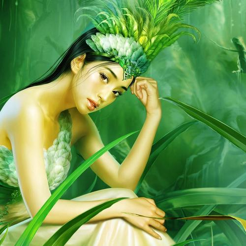 Nature girl painting wallpaper