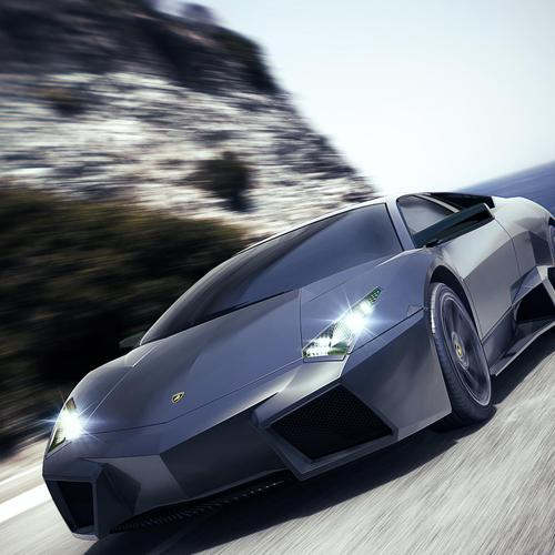 New black Lamborghini Reventon Sports on the road