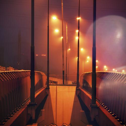 night bridge city view lights street orange flare