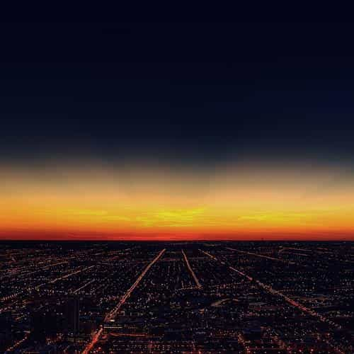 night sky flying sunset city