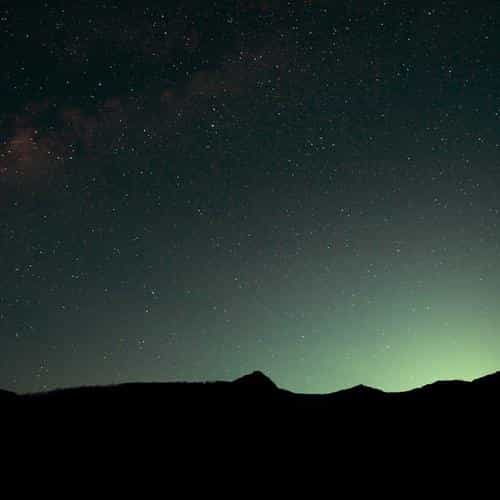 night sky green wide mountain star shining nature