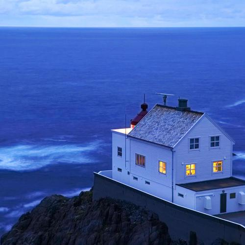 Norway house on seashore