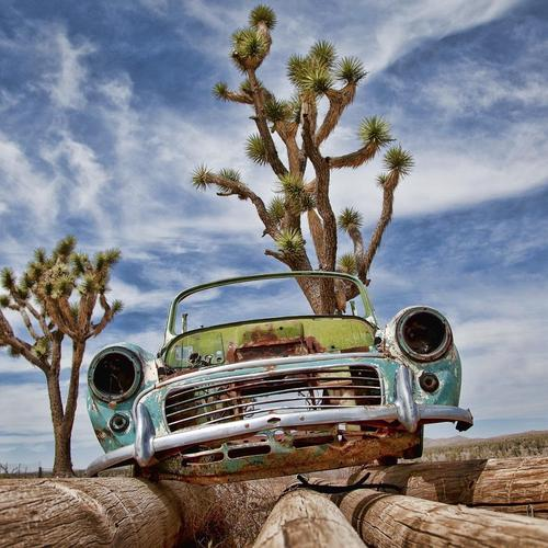 Old junk car in desert wallpaper