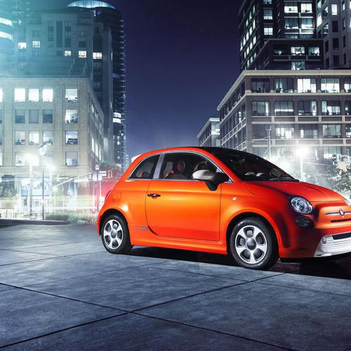 Download Orange 2013 Fiat 500e High quality wallpaper