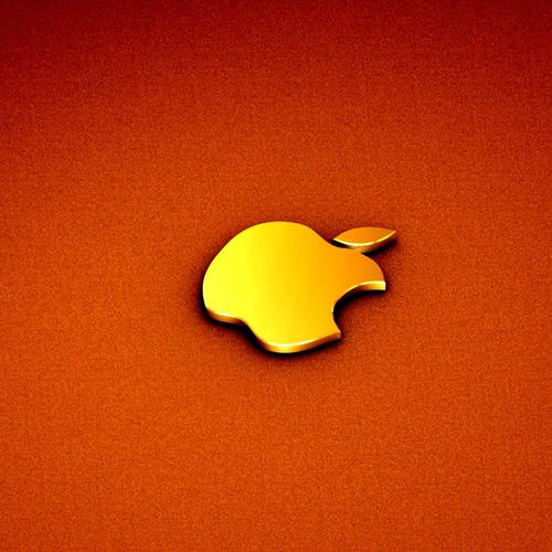 Orange Apple logo wallpaper