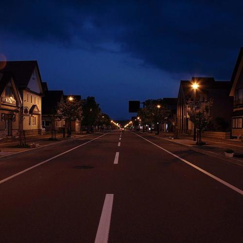 Ordinary town road at night