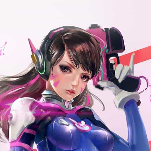 overwatch diva cute game art illustration