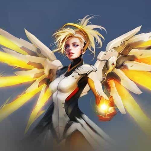 overwatch mercy cute game art illustration angel