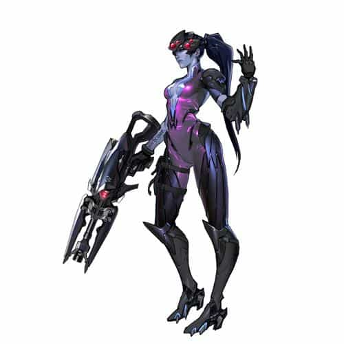 overwatch widowmaker white game art illustration