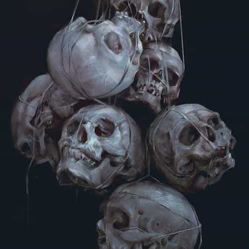 paint skull blue dark yanjun cheng illustration art